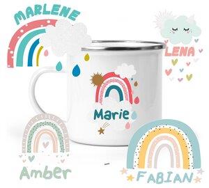 Emaille-Becher Regenbogen Motive, personalisiert - wolga-kreativ