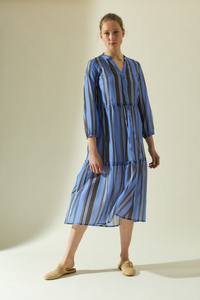 Midikleid Print Stripe aus Bio-Baumwolle mit Seide - LANIUS