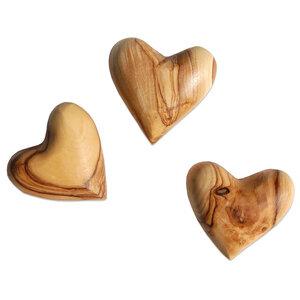 Set AMORE - 3 Deko-Herzen aus Olivenholz - Olivenholz erleben