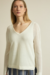 Pullover mit V-Ausschnitt aus Hanf - LANIUS