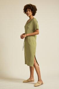 Streifenkleid mit V-Ausschnitt aus Hanf mit Bio-Baumwolle - LANIUS