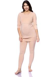 SOLANGE 2tlg. Lounge Umstands- und Still-Pyjama Set 3/4 Arm aus Bio Baumwolle - Milchshake