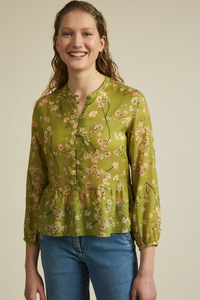Volantbluse Print Moonflower TENCEL Lyocell - LANIUS