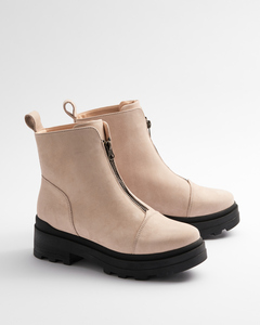 Zip Seamless Sand - Stiefel mit Reisverschluss Damen - Addition Sustainable Apparel