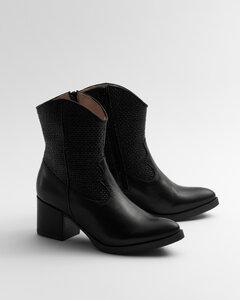 Cowboy Pleated Black - Stiefel mit Flechtdetail Damen - Addition Sustainable Apparel