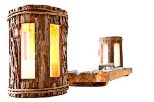 Rundes Windlicht aus Nadelholz - Rinde - eckige Fenster – Glaszylinder - Größe: 27x16 cm - ReineNatur