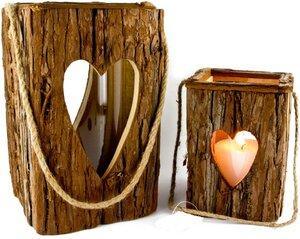 Nadelholz Windlicht – Naturrinde – Herzförmige Fenster – Glaszylinder - ReineNatur