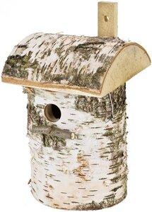 Nistkasten für Meisen in Birkenholz mit Rinde Größe: H: 30 cm – Ø 16 cm – Schlupfloch: 28 mm - ReineNatur