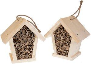 Insektenhaus aus Fichtenholz mit Schilf-Röhrchen Größe: 14 x 18 x 19,5 cm - ReineNatur