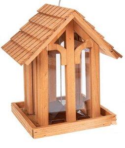 Holz Vogelfutterhaus aus Kiefernholz geölt mit Rundbogenfenster - Wetterfest - ReineNatur