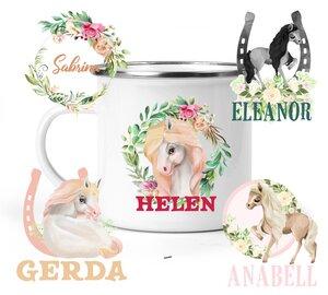 Emaille-Becher Pferde Motive, personalisiert - wolga-kreativ