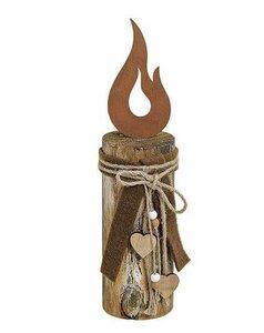 Flamme aus Edelrost auf Holzpfahl - ReineNatur