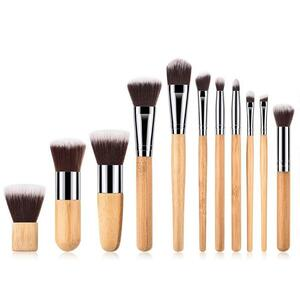 Veganes Make-up Pinsel Set - Bambus und Silber - Hurtig Lane