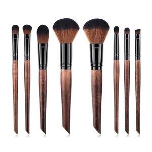 Veganes Make-up Pinsel Set - Holz und Schwarz - Hurtig Lane