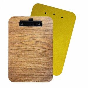 Klemmbrett Schreibunterlage Schreibbrett Clipboard Klemmmappe Holz gelb DIN A4 - Werkhaus GmbH