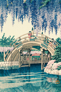 Wisteria At Kameido by Hasui Kawase - Poster von Japanese Vintage Art - Photocircle