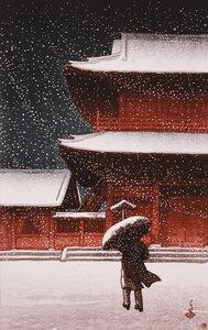 Shiba Zojo Temple in Snow by Hasui Kawase - Poster von Japanese Vintage Art - Photocircle