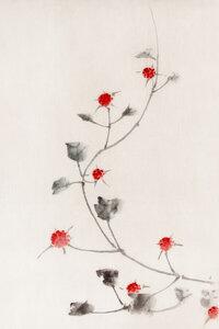 Small Red Blossoms on a Vine by Katsushika Hokusai - Poster von Japanese Vintage Art - Photocircle