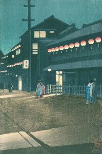 Evening At Soemoncho, Osaka by Hasui Kawase - Poster von Japanese Vintage Art - Photocircle