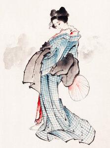 Woman in Kimono by Katsushika Hokusai - Poster von Japanese Vintage Art - Photocircle