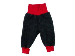 Baby Wollfleece Hose Anthrazit-Rot - Ulalü