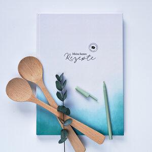 Din A4 Großes Rezeptbuch 'Seashore' zum Selber schreiben mit Verzeichnis für bis zu 80 Lieblingsrezepte - heaven+paper