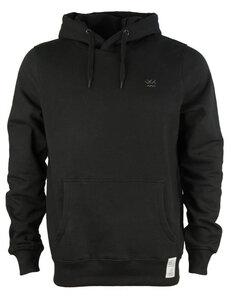 Hoodie, WK BLCK, schwarzer Hoodie aus 100% Biobaumwolle mit gesticktem Logo - Waterkoog