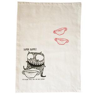 Geschirrtuch, Super Suppe. aus Bio Baumwolle & Bambus, Handsiebdruck - Cherry Bomb