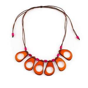 "Tagua Kette ""Seda"", Länge verstellbar bis ca. 68 cm, Satinband, Steinnuß (Naturprodukt), Fairtrade - Mekhada"