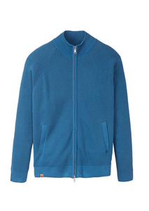 Herren Trainingsjacke aus Baumwolle (Bio) blau | Trackjacket #WAFFLE summer blue / navy - recolution