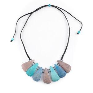 """Tagua Kette """"Lollipop"""", Länge verstellbar bis ca. 65 cm, Satinband, Steinnuß (Naturprodukt), Fairtrade - Mekhada"""