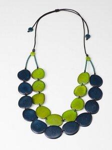 """Tagua Kette """"Aurora"""", Länge verstellbar bis ca. 85 cm, Textilband, Steinnuß (Naturprodukt), Fairtrade - Mekhada"""