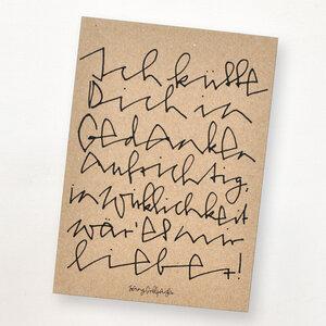 """Postkarte """"Ich küsse Dich in Gedanken"""" - bastisRIKE"""