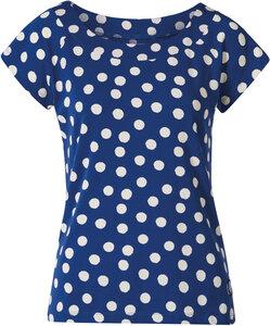 Gepunktetes navy Shirt aus Bio-Baumwolle mit Elasthan - Seute Deern