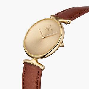 Armbanduhr Unika Gold   Mattes Edelstahl Ziffernblatt - Italienisches Lederarmband - Nordgreen Copenhagen