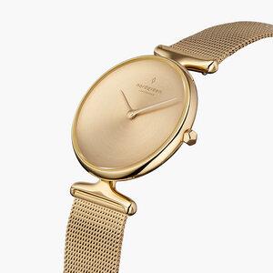 Armbanduhr Unika Gold| Mattes Edelstahl Ziffernblatt - Mesharmband Gold - Nordgreen Copenhagen