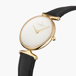 Armbanduhr Unika Gold   Weißes Ziffernblatt - Italienisches Lederarmband - Nordgreen Copenhagen
