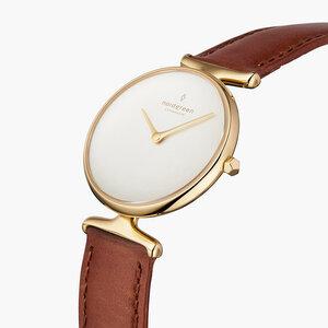 Armbanduhr Unika Gold | Weißes Ziffernblatt - Italienisches Lederarmband - Nordgreen Copenhagen