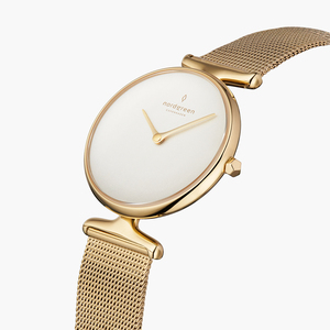 Armbanduhr Unika Gold | Weißes Ziffernblatt - Mesharmband Gold - Nordgreen Copenhagen