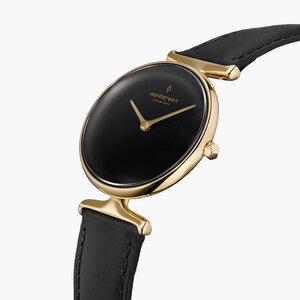Armbanduhr Unika Gold | Schwarzes Ziffernblatt - Italienisches Lederarmband - Nordgreen Copenhagen