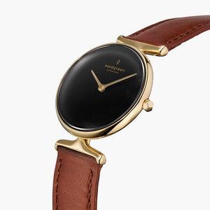 Armbanduhr Unika Gold   Schwarzes Ziffernblatt - Italienisches Lederarmband - Nordgreen Copenhagen