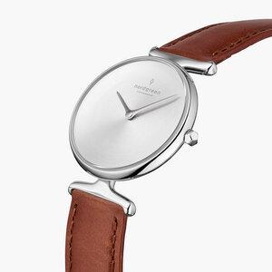 Armbanduhr Unika Silber | Mattes Edelstahl Ziffernblatt - Italienisches Lederarmband - Nordgreen Copenhagen