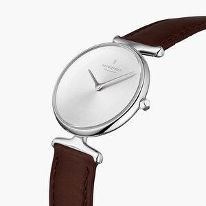 Armbanduhr Unika Silber   Mattes Edelstahl Ziffernblatt - Italienisches Lederarmband - Nordgreen Copenhagen
