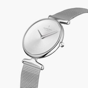 Armbanduhr Unika Silber   Mattes Edelstahl Ziffernblatt - Mesharmband Silber - Nordgreen Copenhagen