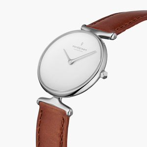 Armbanduhr Unika Silber   Weißes Ziffernblatt - Italienisches Lederarmband - Nordgreen Copenhagen