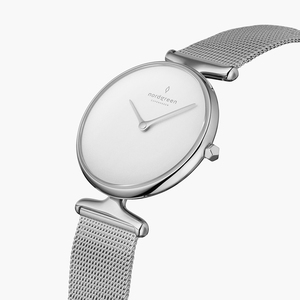 Armbanduhr Unika Silber | Weißes Ziffernblatt - Mesharmband Silber - Nordgreen Copenhagen