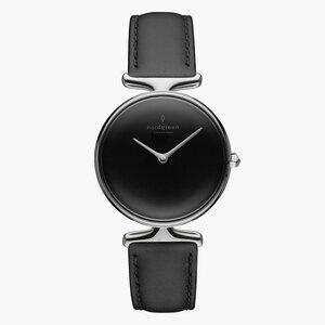 Armbanduhr Unika Silber   Schwarzes Ziffernblatt - Italienisches Lederarmband - Nordgreen Copenhagen