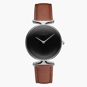 Armbanduhr Unika Silber | Schwarzes Ziffernblatt - Italienisches Lederarmband - Nordgreen Copenhagen