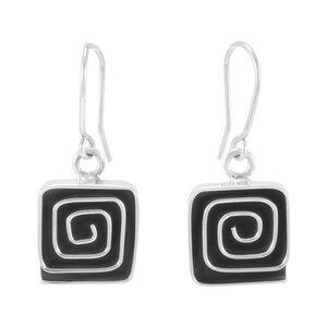 Ohrringe Silber Labyrinth Spirale quadratisch fein handmade Fair-Trade - pakilia