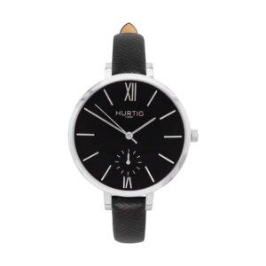 Amalfi Petite Veganes Leder Uhr Silber/Schwarz - Hurtig Lane
